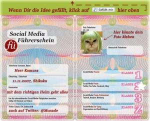 Die Wilkommensseite des Social Media Führerscheins auf Facebook